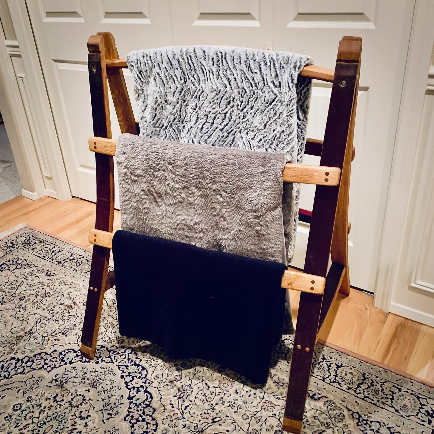 Woodinville Barrel Works - wine barrel furniture - blanket ladder