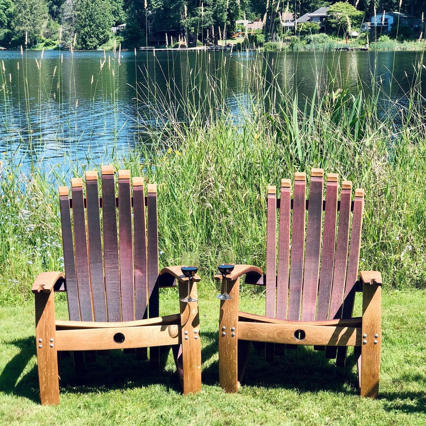 Woodinville Barrel Works - wine barrel furniture - lawn chairs